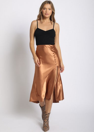 Proper In Copper Midi Skirt