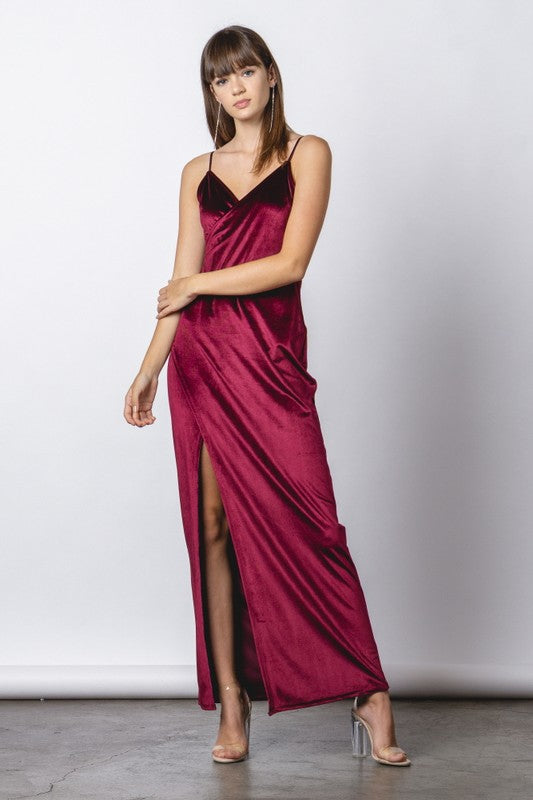 Raise A Glass Velvet Maxi Dress