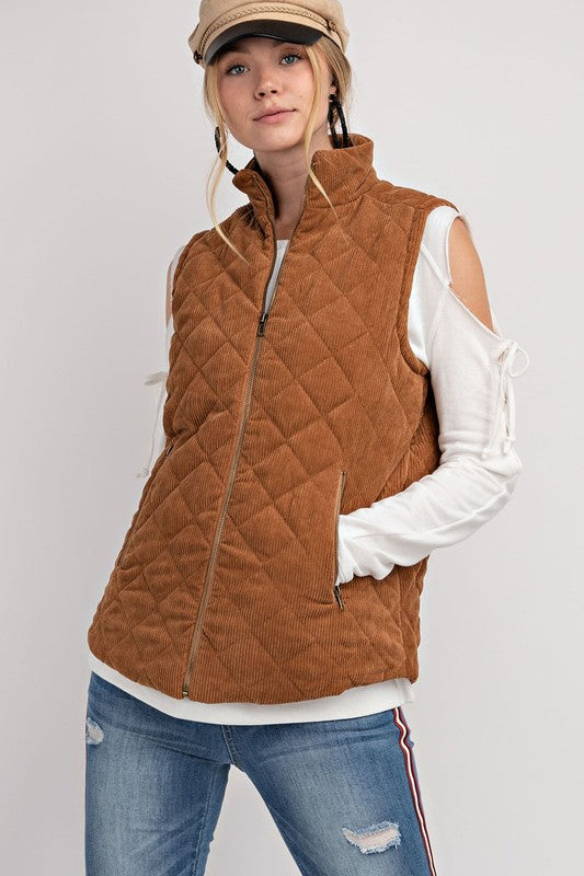 Ready Or Not Quilted Corduroy Vest
