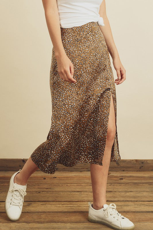 Safe With Me Leopard Midi Skirt