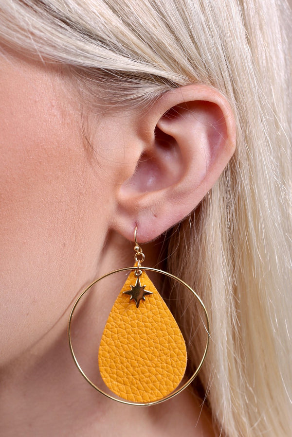 Shooting Star Leather Earrings