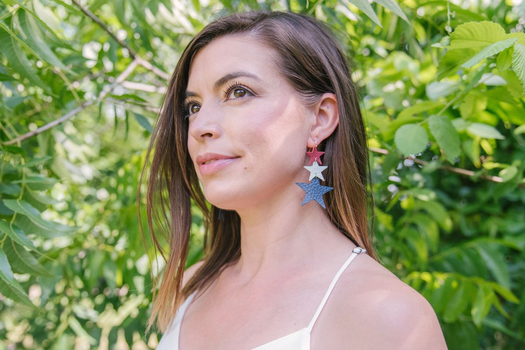 Star Spangled Leather Earrings