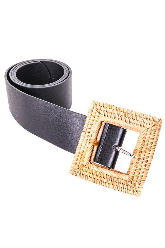 Straw Braided Buckle Belt