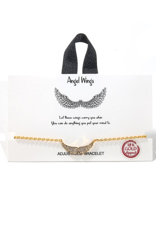 Studded Angel Wing Bracelet (MULTIPLE COLORS)
