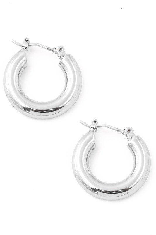 Thick Rounded Latch Hoop Earrings (MULTIPLE COLORS)