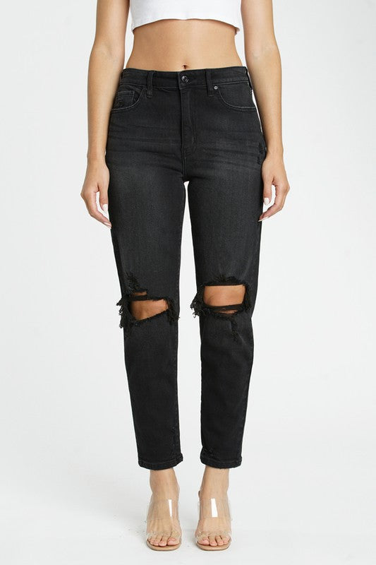 Tobi Soot Black Super High Rise Mom Jean