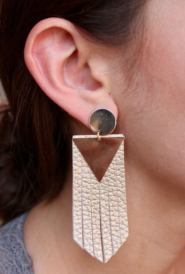 Triangle Leather Drop Earrings