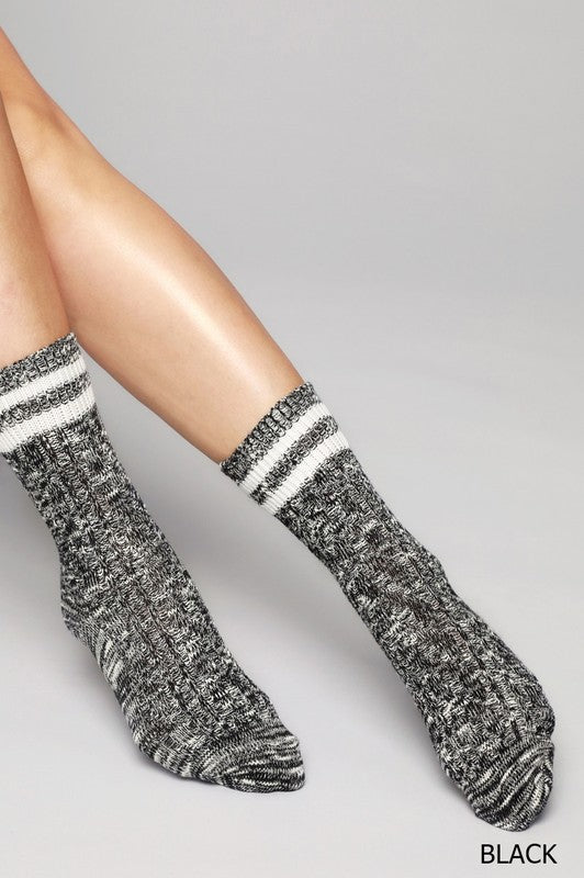 Two Tone Melange Cable Knit Socks