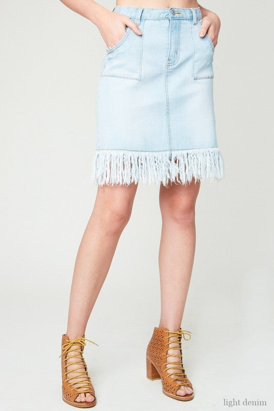 Somewhere On A Beach Denim Skirt