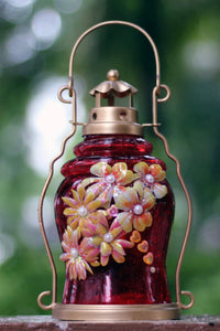 Red Crackle Lantern with beauty of Yellow Flowers