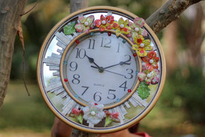 Decorative Wall Clock with Colorful Flowers