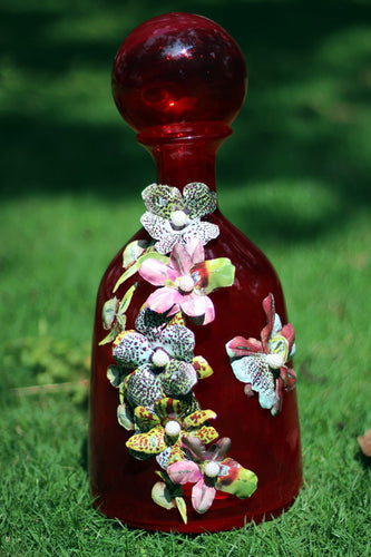 Bottle Shaped Red Topped Vase