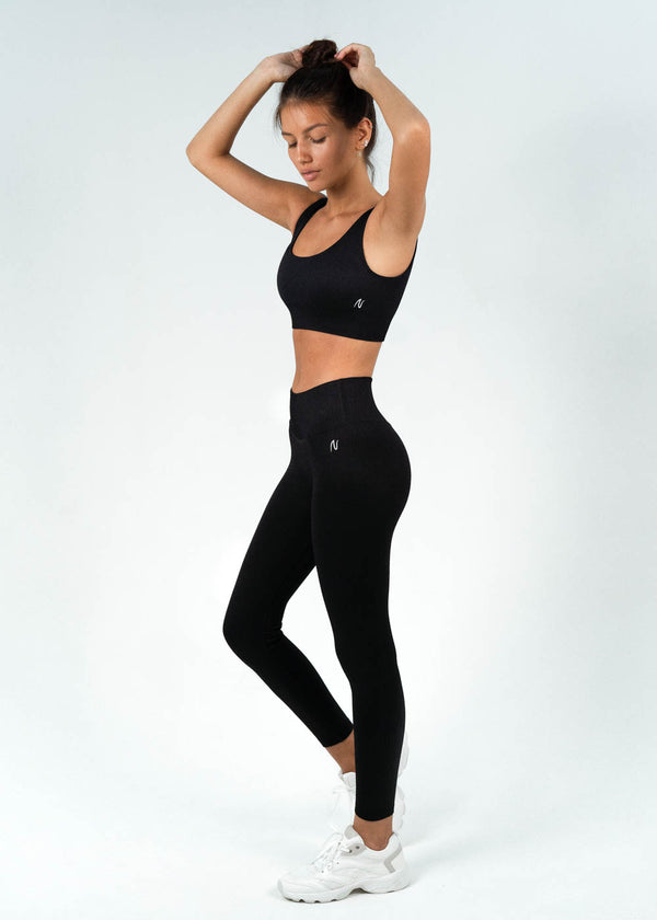 Ribbed Full Length Leggings | Breathe Nero