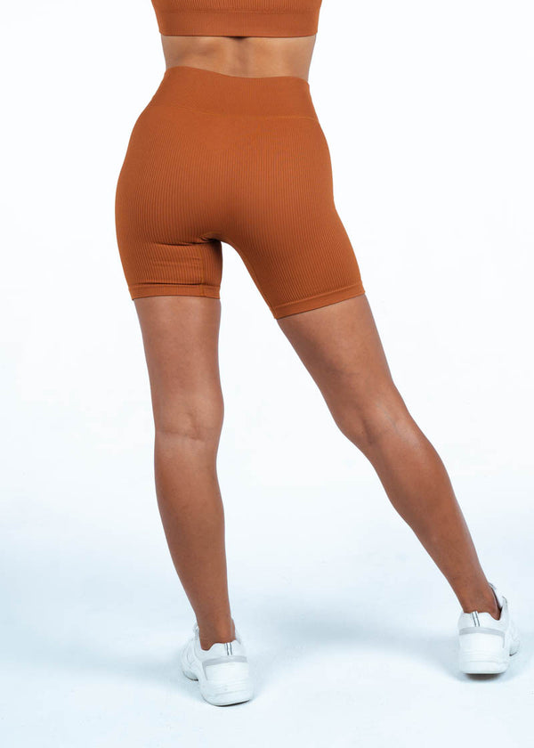 Ribbed Cycling Shorts in light brown
