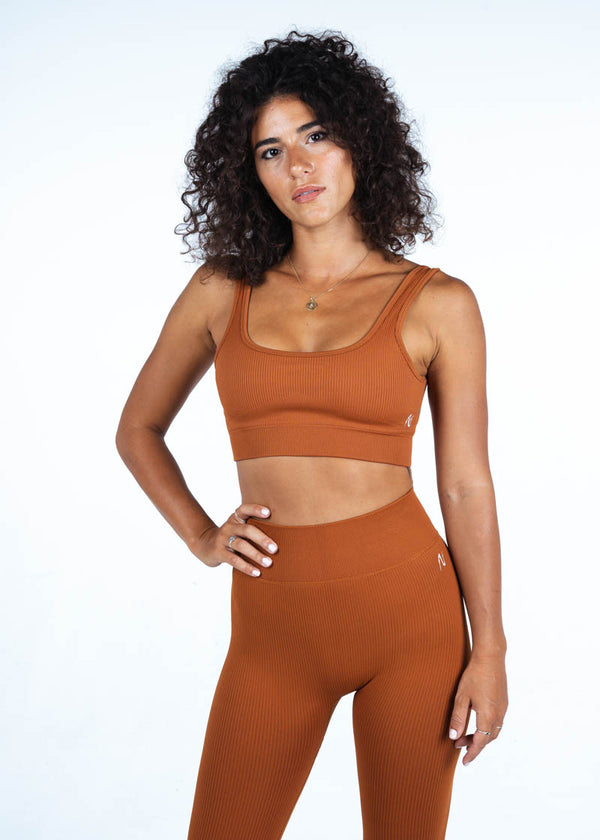 Ribbed Sports Top In Light Brown