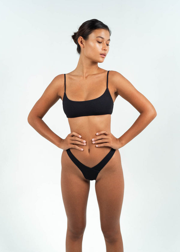 Black Low Scoop Bandeau Bikini