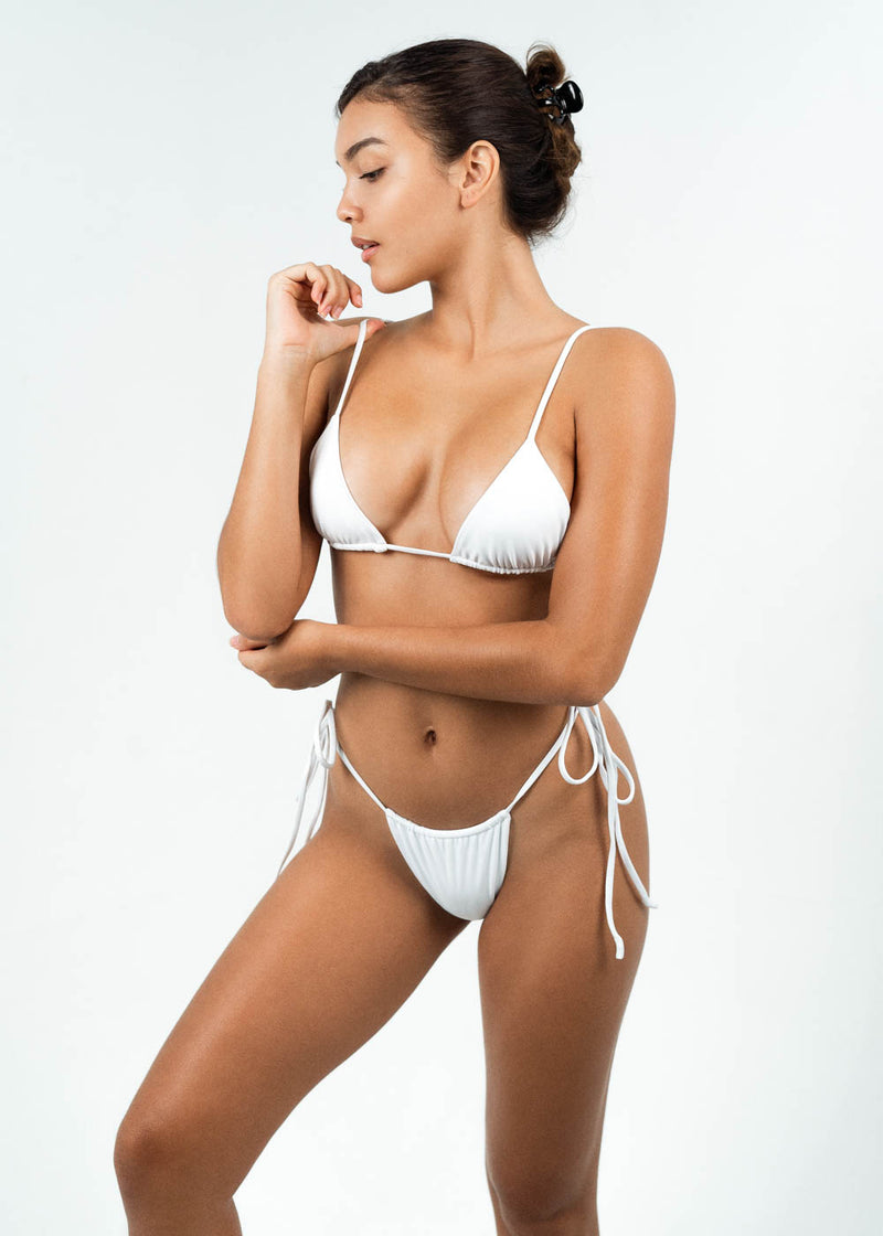 white tie up string bikini
