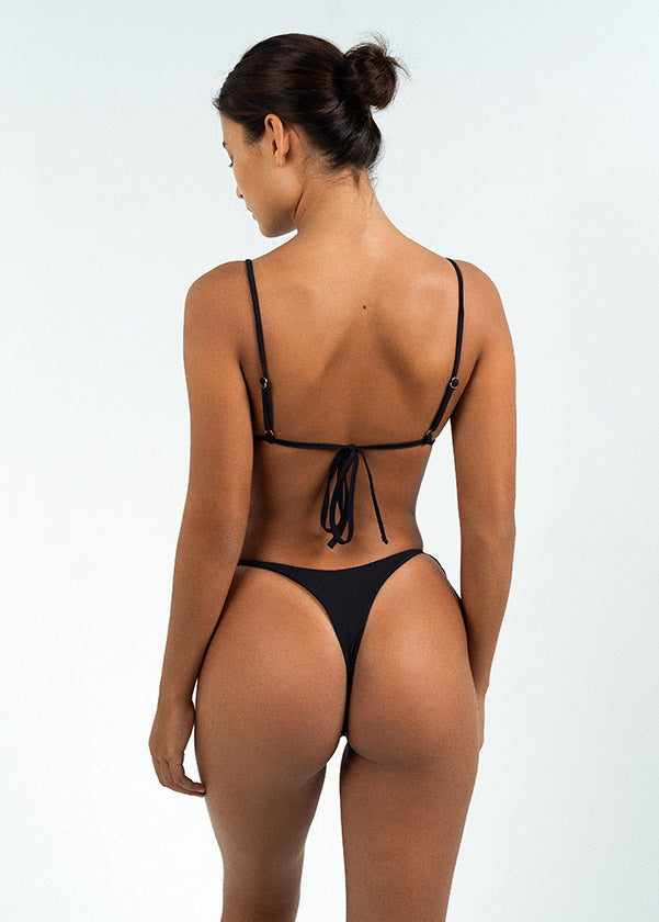 black string bikini in set