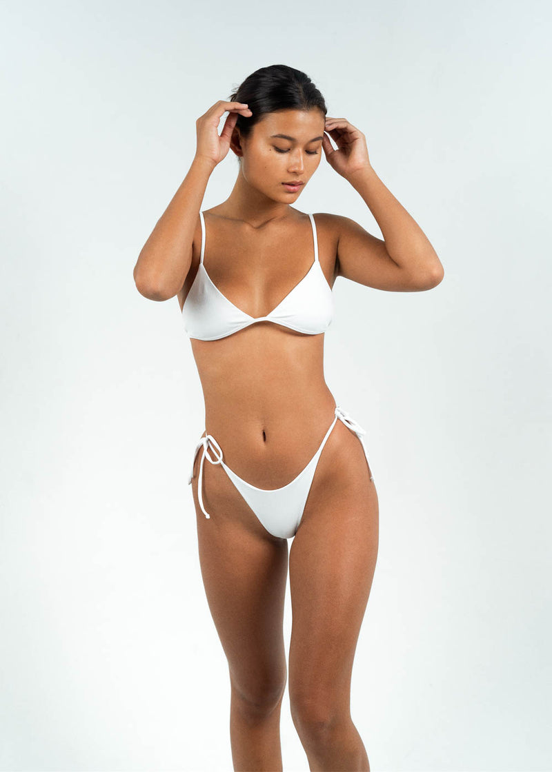 white triangle bikini top tie-up back