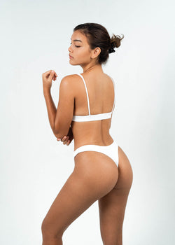 white high cut brazilian bikini bottoms