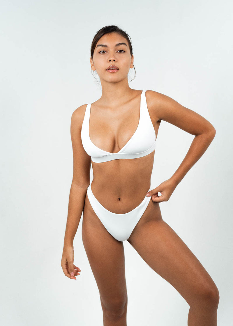 white high cut bikini bottoms with plunge top