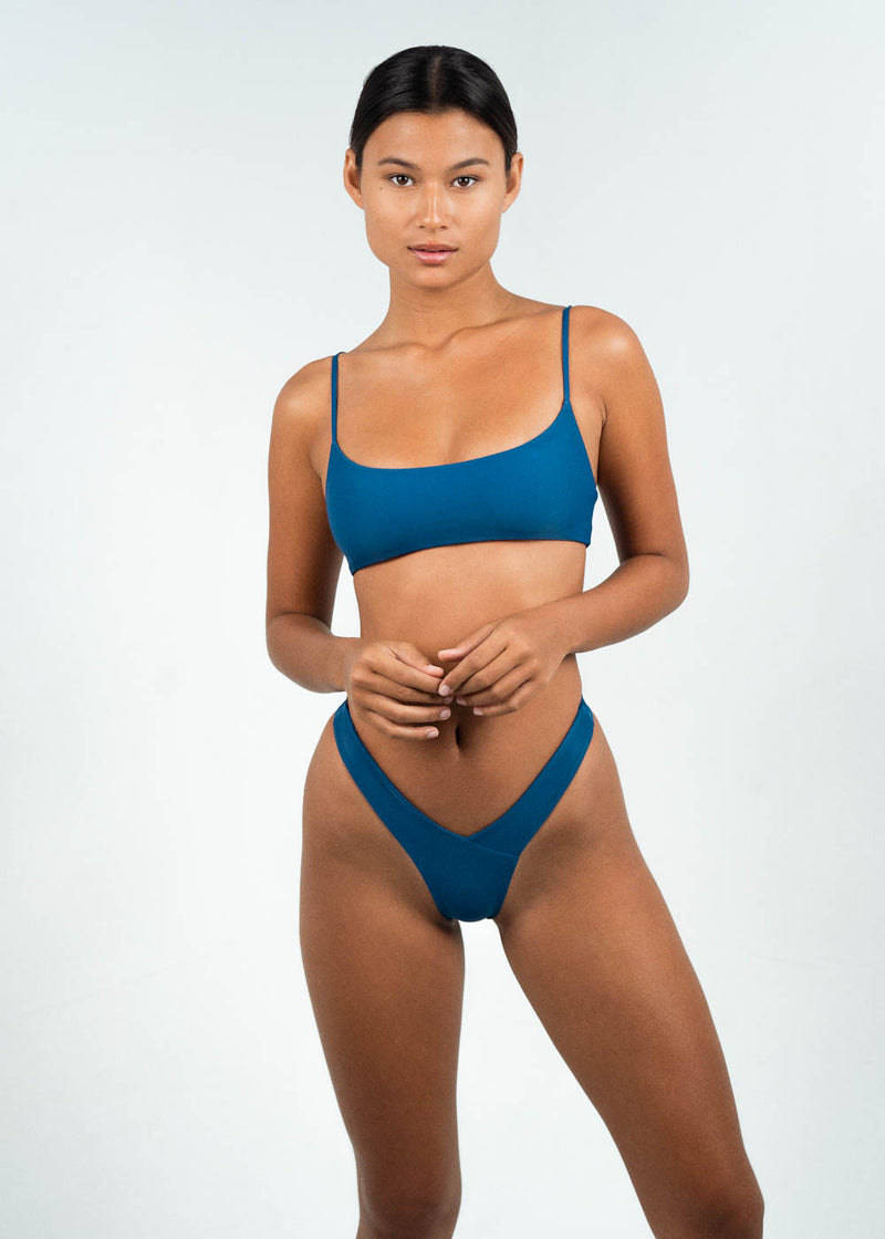 Blue Low Scoop Bandeau bikini top