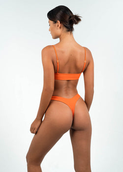 orange high cut thong bikini bottoms