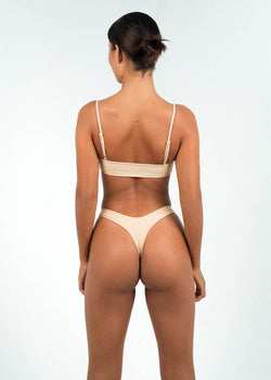 light brown high cut thong bikini bottoms