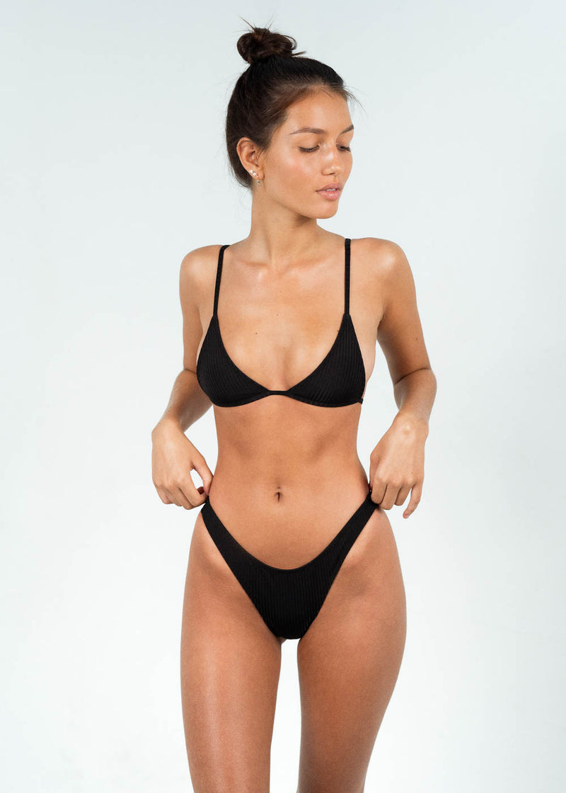 high cut bikini bottoms with triangle top