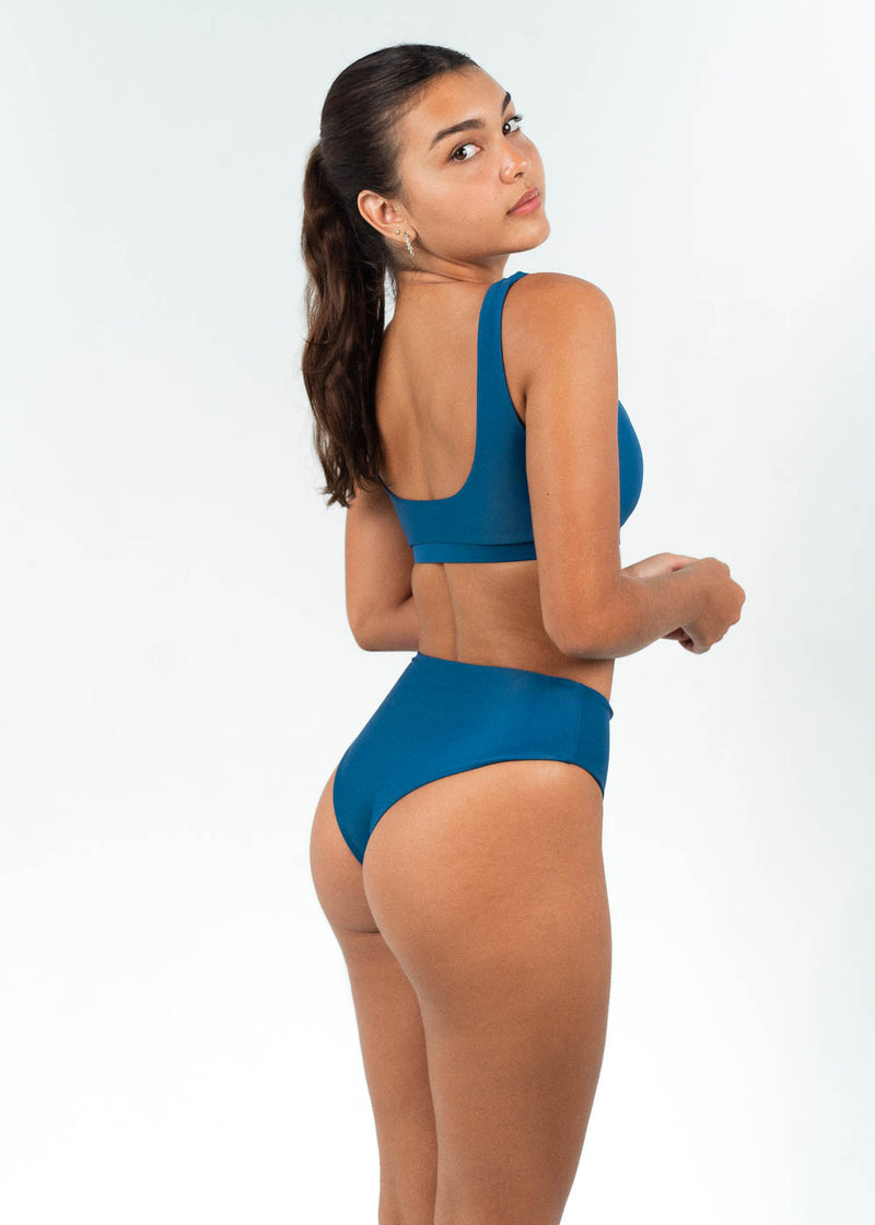 blue high waisted bikini set