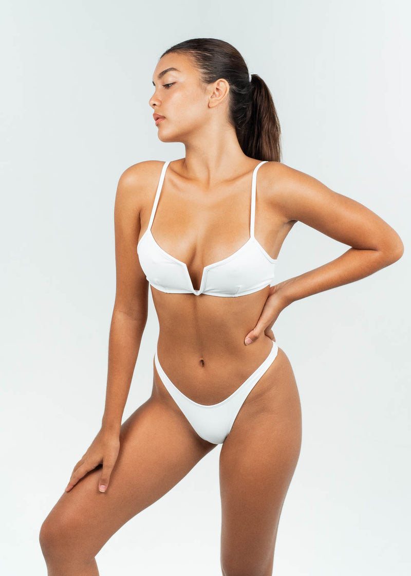 white high cut bikini bottoms in set