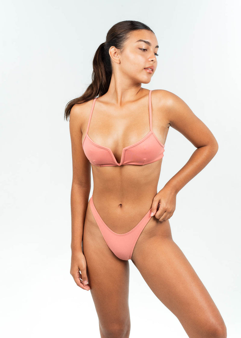 pink V wire bikini top with high cut bottoms in set