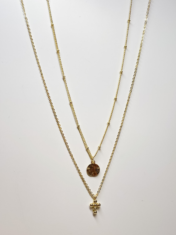 B.b Lila - Coin & Cross Double Layered Necklace