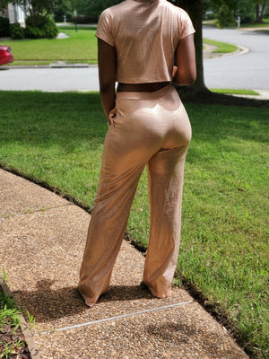 Gold Crop and Pant Set