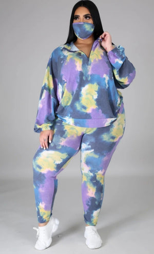 Lucy Tie Dyed Set with Mask