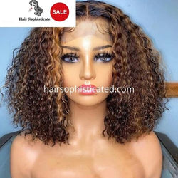 Highlight Front Lace Human Hair Wigs for Women Ombre Honey Blonde Color Human Hair Wig Curly bob Pre Plucked Virgin Hair