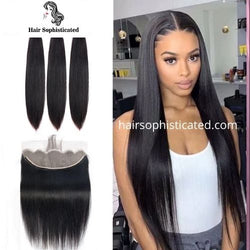 Frontal Wig | 13x4Frontal With 3 Bundles Straight Hairsophisticated Virgin Hair 300%Density
