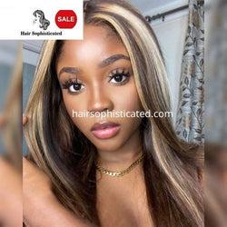 Highlight Mixed Color Piano Blonde Front Lace Wig Silky Straight Style
