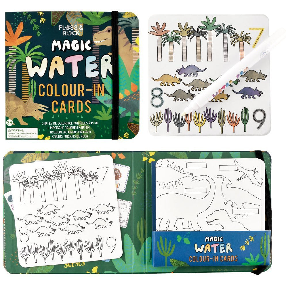 Floss & Rock MAGIC COLOUR CHANGING WATER CARDS - DINOSAUR