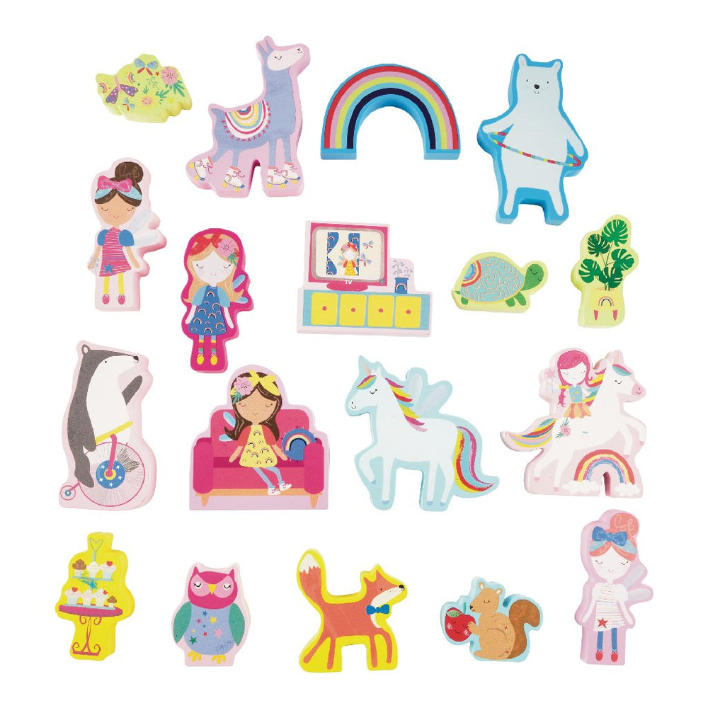 Floss & Rock PLAY BOX WITH WOODEN PIECES - RAINBOW FAIRY
