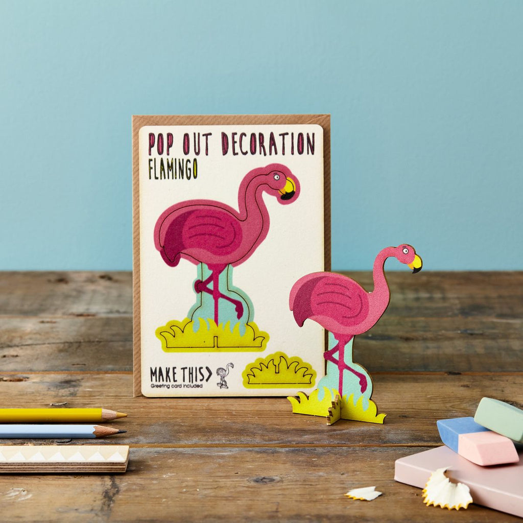 POP OUT FLAMINGO GREETING CARD