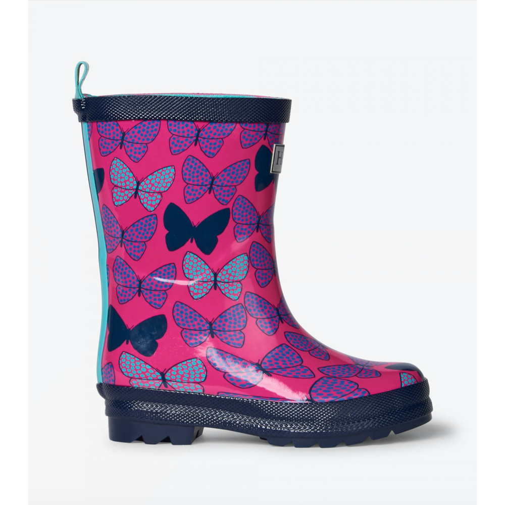 Hatley Spotted Butterflies Shiny Rain Boots