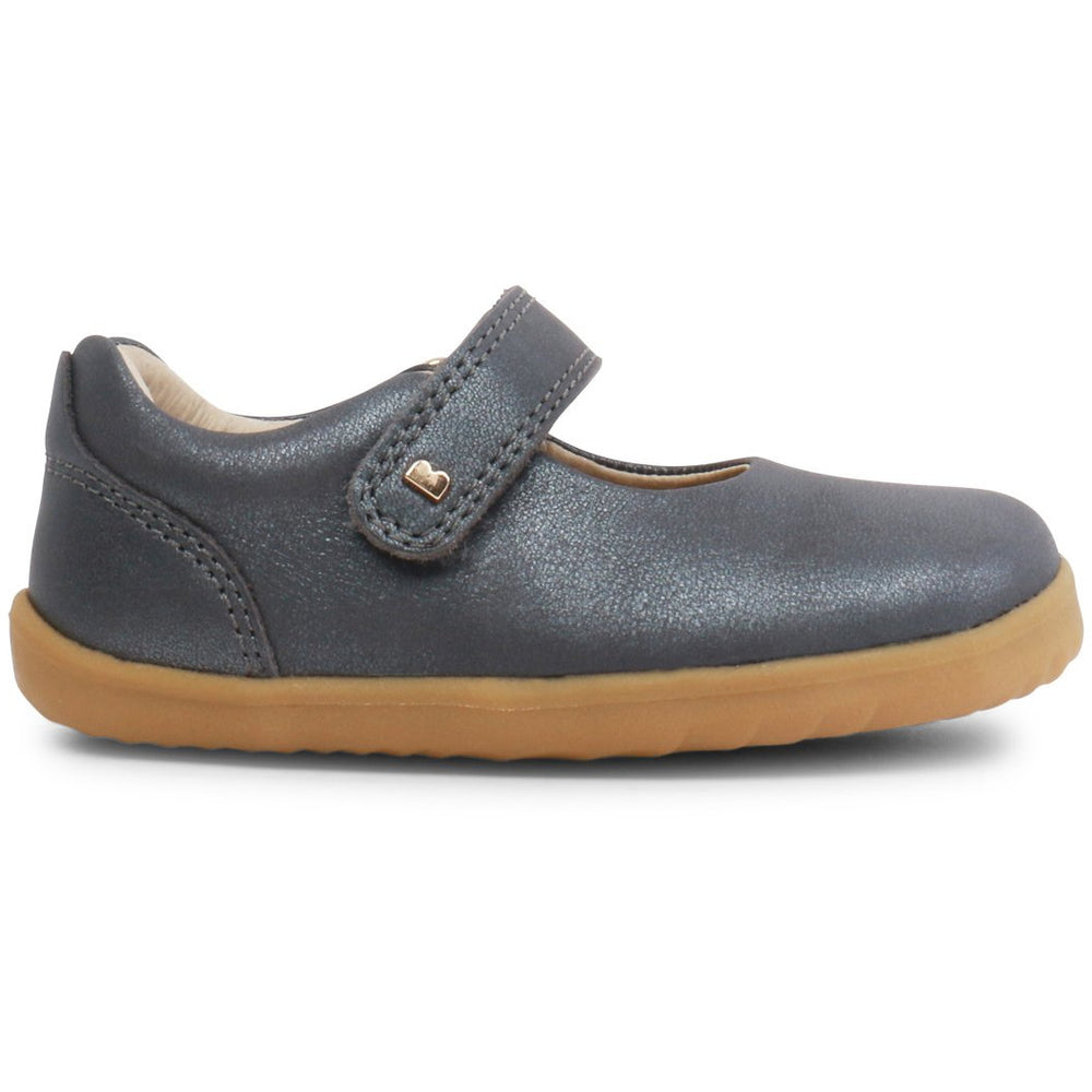 Bobux Girls Delight Charcoal Shimmer Mary Jane Shoes