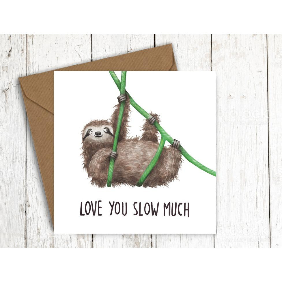 Citrusbunn Cute Sloth Anniversary Card