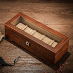 Tang 5 Slots Wood Watch Storage Boxes Case Mechanical Men'S Watch Storage Case Lock Wooden Display Jewelry Gift Box