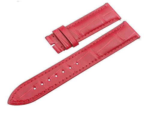 Bracelet de Montre en Cuir d'Alligator Rouge