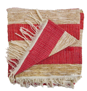Textile Red + Gold Threads