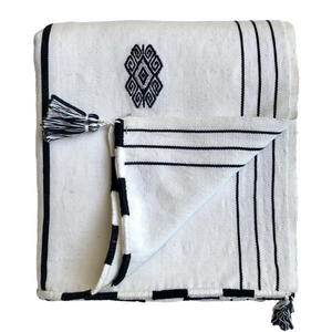 Black And White Striped Textile With Motifs