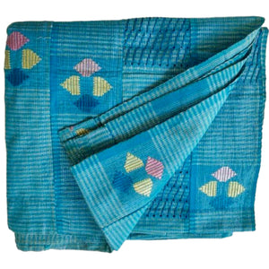 Textile Aso-Oke Turquoise and Silver