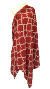 Chainlink Block Print Scarf Red and Beige
